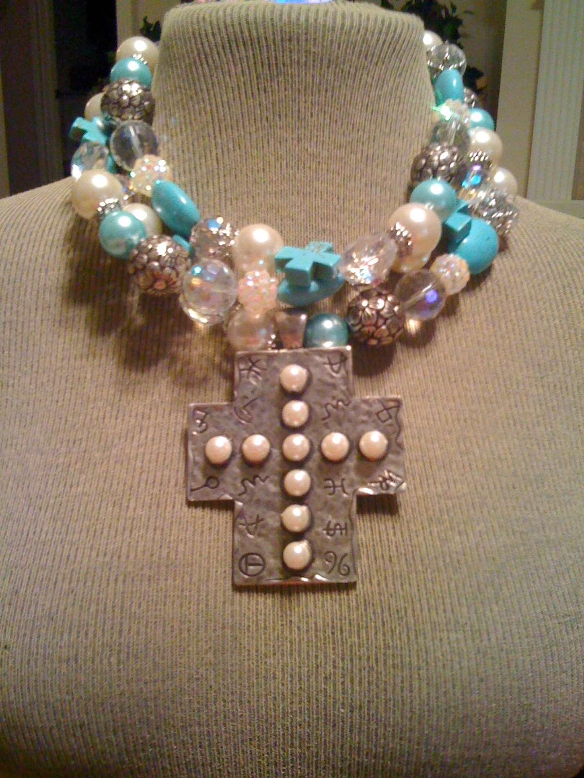 three strand pearl, turquoise and crystal necklace